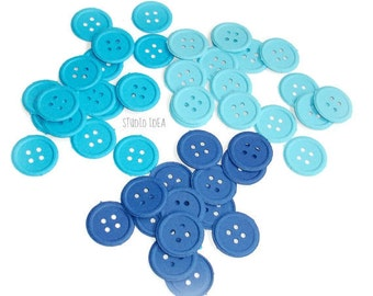 120 Mixed Blue embossed Button Cut-outs, Confetti - Set of 120 pcs