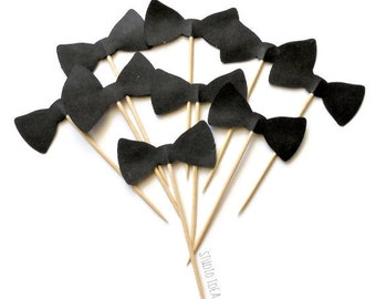 """2"""" Black Bowtie Double sided Cupcake Toppers _Style B_ Food Picks-or Choose Your Colors-Set of 12pcs, 24pcs"""