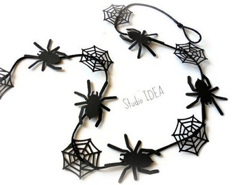 Black Spider with Spider Web Paper Garland on Satin Cord, Wall Decor -5 ft (1,5 m) long