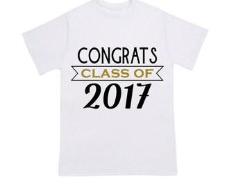 Congrats Class of 2017 Graduation T-Shirt, Graduation Gift, High School Grad, College Grad