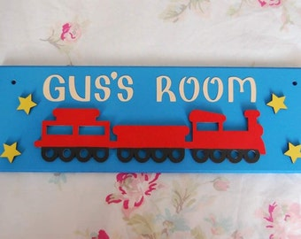 Train Personalised Name Sign Name Plaque. Any Name/Names Any colours Boys Name sign Girls sign railway Nursery Children's sign Trains sign