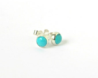 Cute Turquoise & Sterling Silver Stud Earrings.  5mm Turquoise with Matrix. Notched Posts with Butterfly Backs.