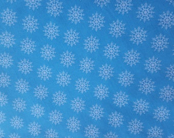 Snowflake Fabric 100% Cotton Blue Winter Fabric Snowflakes