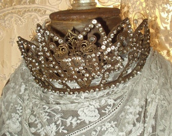 Vintage French Santo's PARIS Crown 1800s Replica, OOAK Santos Saint Olivia, by Corinne Layton
