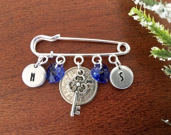 Something blue wedding sixpence, gift ideas for bride from bridesmaid sixpence bridal gift blue bridal pin gift for bride from maid of honor