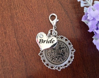 good luck bride, lucky sixpence bride, boquet charm for the bride wedding bouquet charm bridal bouquet charm gift for the bride from her mom