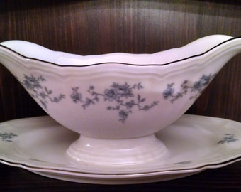 havilland blue garland gravy with attached plate