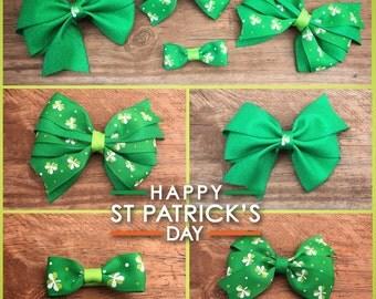 Ribbon Bow/headband/hair clip/kids/hair/accessory/baby/girls/saint paticks day/shamrock/green