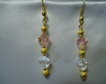 Pink and Clear Crystal Dangle Earrings