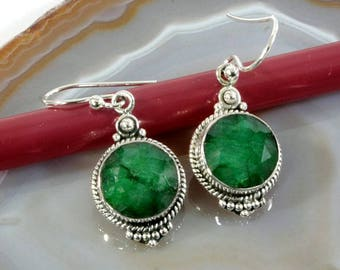 Emerald  and Silver Earrings  -- 3026