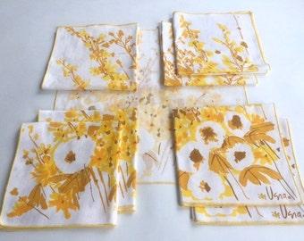 Set of Eight Vera Autumn Wildflower Cotton Napkins