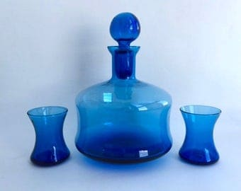 Beautiful Blue Blown Glass Decanter With Two Tumblers