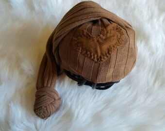 Newborn Boy Hat/Rustic/Photo Prop/Brown/Toupe/Upcycled/Heart/Patch/valentine's day- READY TO SHIP