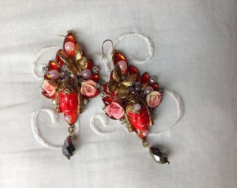 Balinese princess earrings,Selro glass molded cabs , pearls, and 1940 porcelain roses