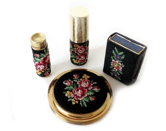 Vintage Makeup Set - Embroidered Beauty Set - 4-Piece Handbag Set