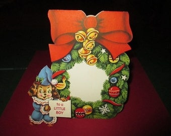 Vintage Unused Children's Christmas Card, Dog in Wreath,1950's, Large Greeting Card, Insert Card