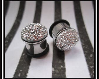 Metallic Rhinestone Comet on stainless steel Wedding Prom EAR TUNNELS plugs you pick gauge size - 2g, 0g, 00g aka 6mm, 8mm, 10mm