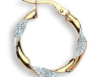 9ct Yellow And White Gold Fancy Twisted Hoop Earrings