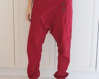 Red Loose Casual pants / Drop Crotch Pants / Extravagant Pants / Unique Pants