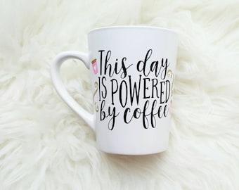 Powered by coffee mug/funny coffee mug/coffee lover gift/coffee mug with sayings/coffee mug for mom/mothers day mug/unique coffee mugs/