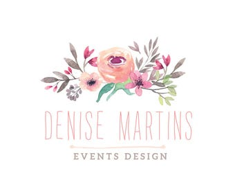 Flowers Watercolor Custom Premade logo, Design Photography Logo and Watermark, Events design, Wedding