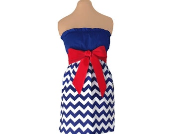 Red + Navy Chevron Game Day Dress