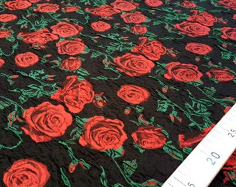 Black and red roses jacquard fabric #82x