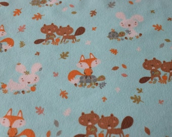 "Infant, baby, newborn receving blanket / gift. Blue fox print. Single layer receiving / swaddling / flannel blanket, approx size 41"" x 41"""