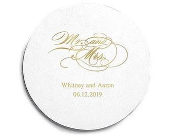 Mr and Mrs Script Print Coasters - 100 Round Coasters - Custom Coasters - Engagement Party - Anniversary - Milestone - Mr and Mrs