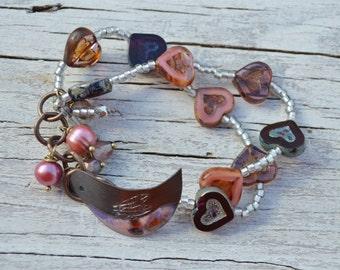 Bird and hearts bracelet ArtIncendi - DayLilyStudio