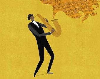The Saxophonist - Print - Wall Art - Illustration - Design