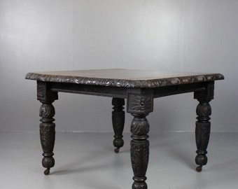 Antique Oak Square Dining Table