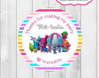 Trolls Printable Tags, Trolls Birthday, Trolls treat bags, Trolls Cupcake, Trolls favor, trolls party, trolls circles, Trolls invitation