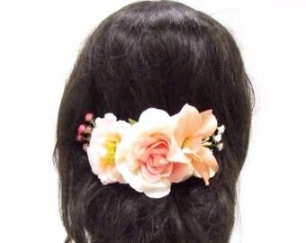 Peach Blush Pink White Rose Flower Hair Comb Bridesmaid Gypsophila Clip Vtg 3027