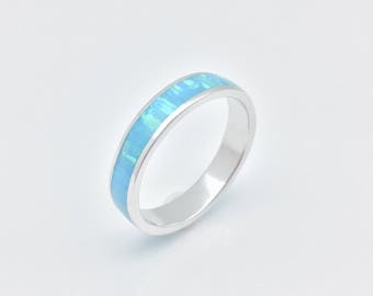 Opal Inlay Band Ring // Rhodium Plated 925 Sterling Silver // Blue Opal Silver Ring