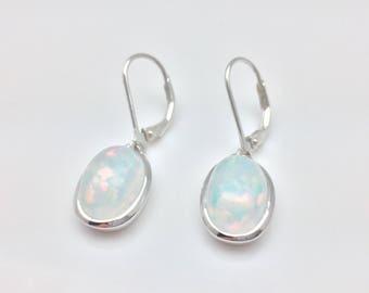 Clear Opal Earrings // 925 Sterling Silver // White Fire Opal Earrings // Oval Setting // Lever Wires