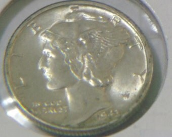 GEM BU 1943 Mercury Dime  MS+