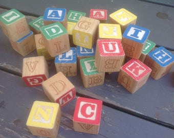 Wooden Children's Blocks Vintage 28 Count