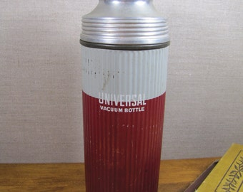 Landers, Frary & Clark - Universal Vacuum Bottle - Metal Thermos - Red and Gray - Cork Stopper