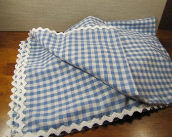 Handmade - Blue and White Gingham Baby Blanket - White Rick Rack Trim