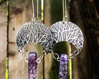 Silver trees and agate crystals earrings, boho, free people , purple , forest, love, magic