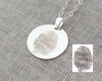 Actual Fingerprint Jewelry,Personalized Finger Print Necklace,Silver Fingerprint Memorial Necklace,Custom Silver Thumbprint Charm Necklace