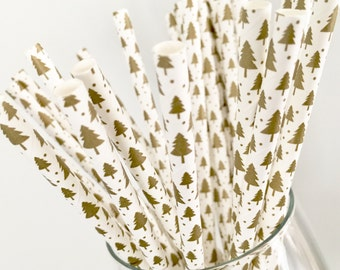 GOLDEN CHRISTMAS Paper Straws - 25 per pack // Holiday Party Decor // Red and Green Party Decor // Party Supplies and Decor