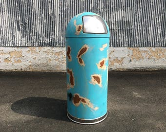 Vintage Metal Trash Can   15 Gallon Kitchen Trash Can Industrial