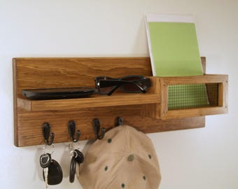 Key Rack- Hat Rack-Mail Organizer-Shelf-Entryway-Special Walnut Finish
