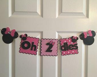 "Minnie Mouse Banner, ""Oh 2 dles"" Banner, Minnie Mouse high chair banner, Hot Pink Minnie Mouse banner, Hot Pink Minnie Decor"