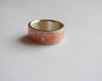 Copper and Sterling Silver 'Mokume' ring