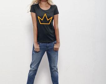 T-shirt kroon- women, organic cotton, pocket, handprinted