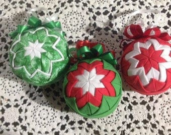 Vintage Handmade Quilted Christmas Ornaments, County Christmas Ornaments, Quilted Christmas Decor, Handmade Christmas Decorations