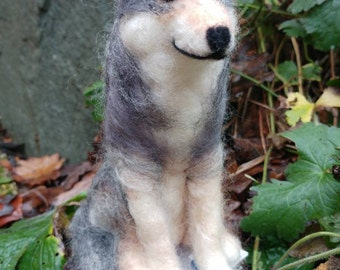Made to order needle felted wolf. Timber wolf. Felted wolf. Wildlife sculpture. Needle felted animal. Wool wolf. Gift. Birthday gift.